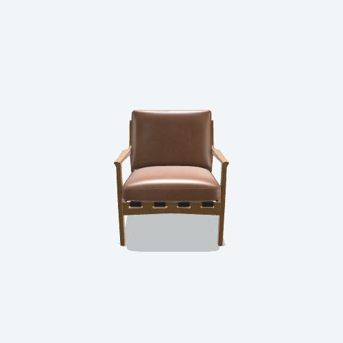 KENNETH LEATHER CHAIR, BROWN